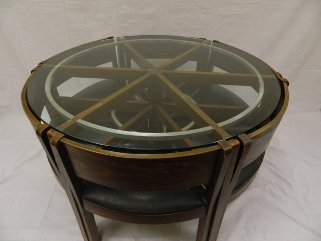 """4: 48"""" Retro Pie Shaped Table w 6  triangle Chairs"""