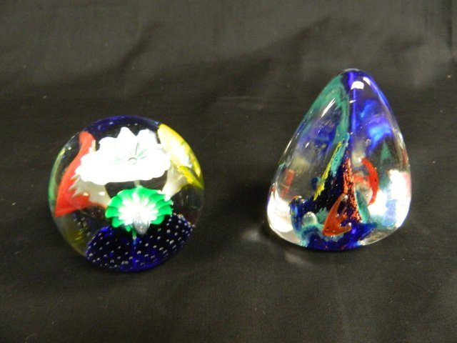 7: 2 Colorful Art Glass Paperweights Floral Fish