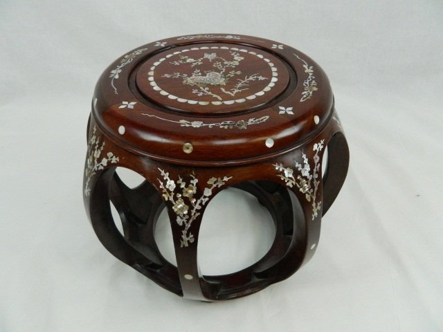 8: Hand Made Wooden Mother of Pearl Jardiniere