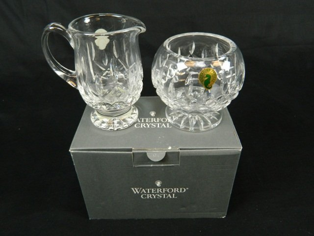 10: Waterford Crystal Lismore Footed Sugar and Cream