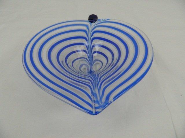 13: Blue Striped Art Deco Leaf Shaped Glass Bowl