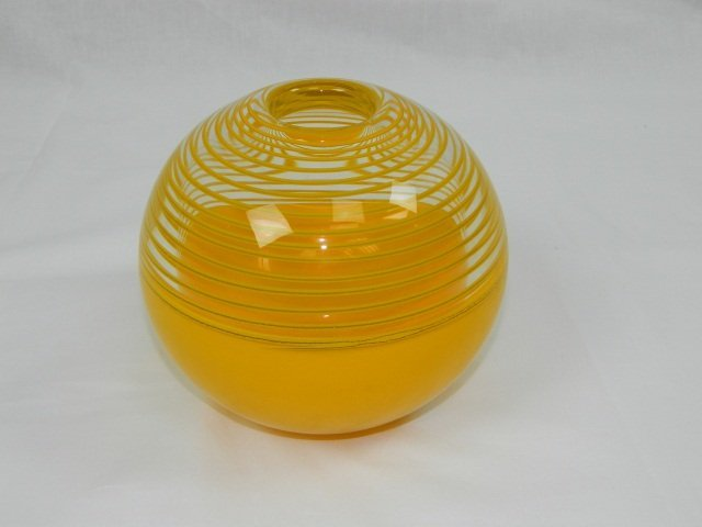 16: Beranek Hand Made Yellow Orb Glass Vase