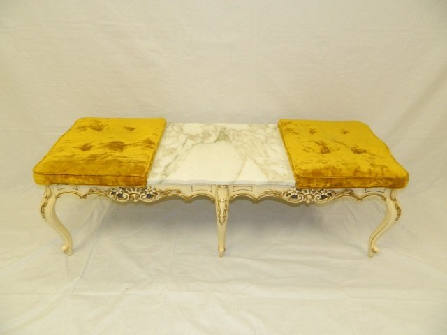 21: Victorian Imperial Palace Bench With Marble Center