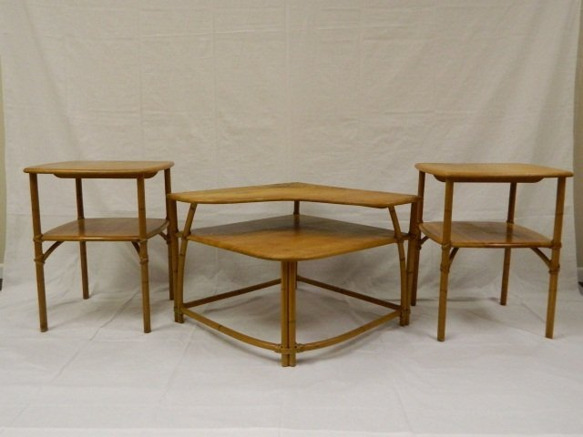 22: Heywood Wakefield Set of 3 Bamboo Style Tables
