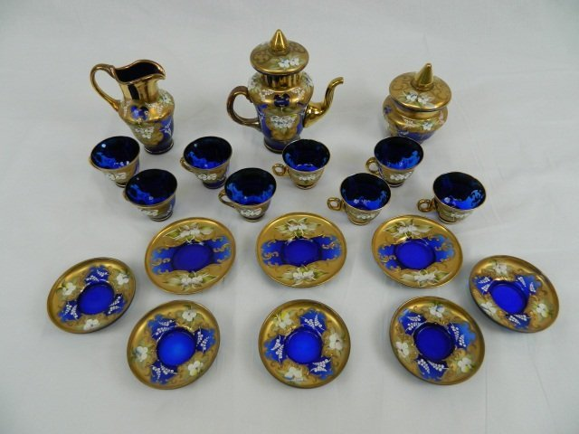 57: Vecchia Murano 24K Gold/Blue Glass Tea Set