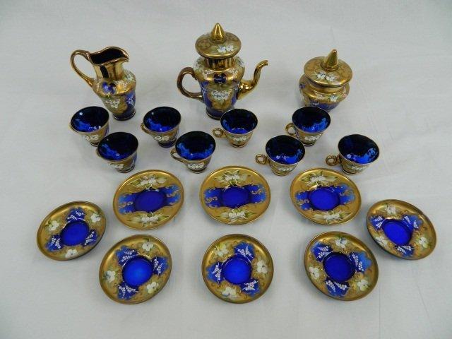 57: Vecchia Murano 24K Gold/Blue Glass Tea Set