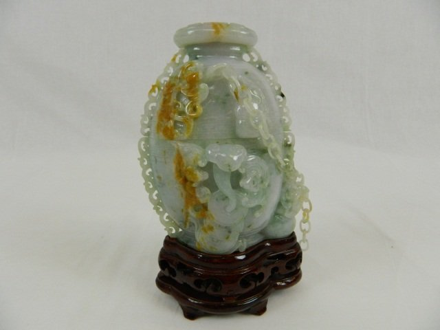 71: Asian 2 Color Jade Lidded Cup w/ Wood Stand