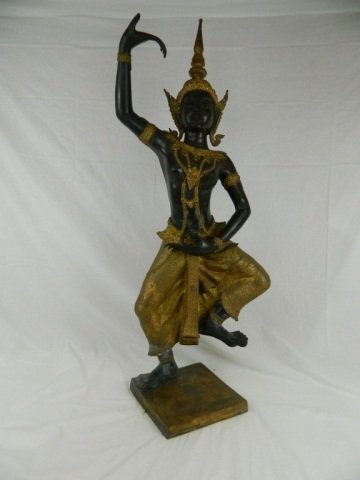 "84: 56"" Tall Narayana Thailand Dancer Bronze Sculpture"