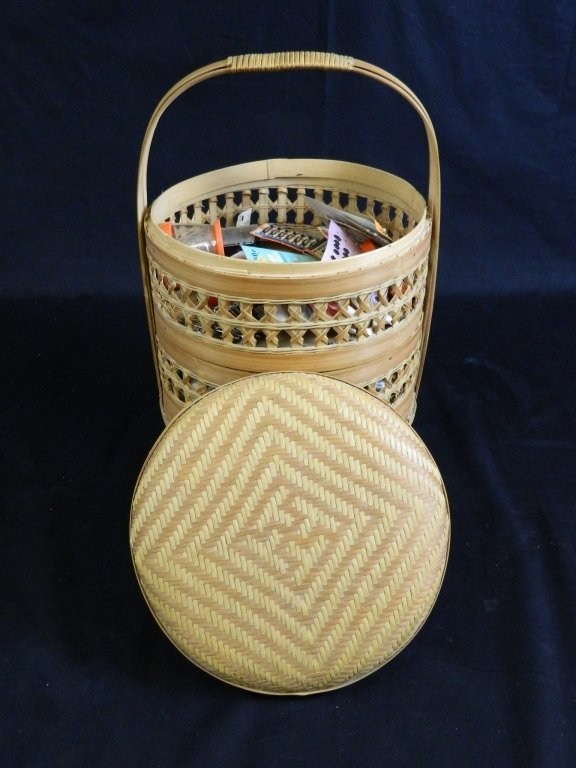 3 Tier Stacking Wicker Sewing Basket +Supplies