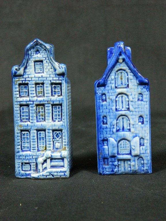 Hand Painted Flow Blue House Salt & Pepper Shaker