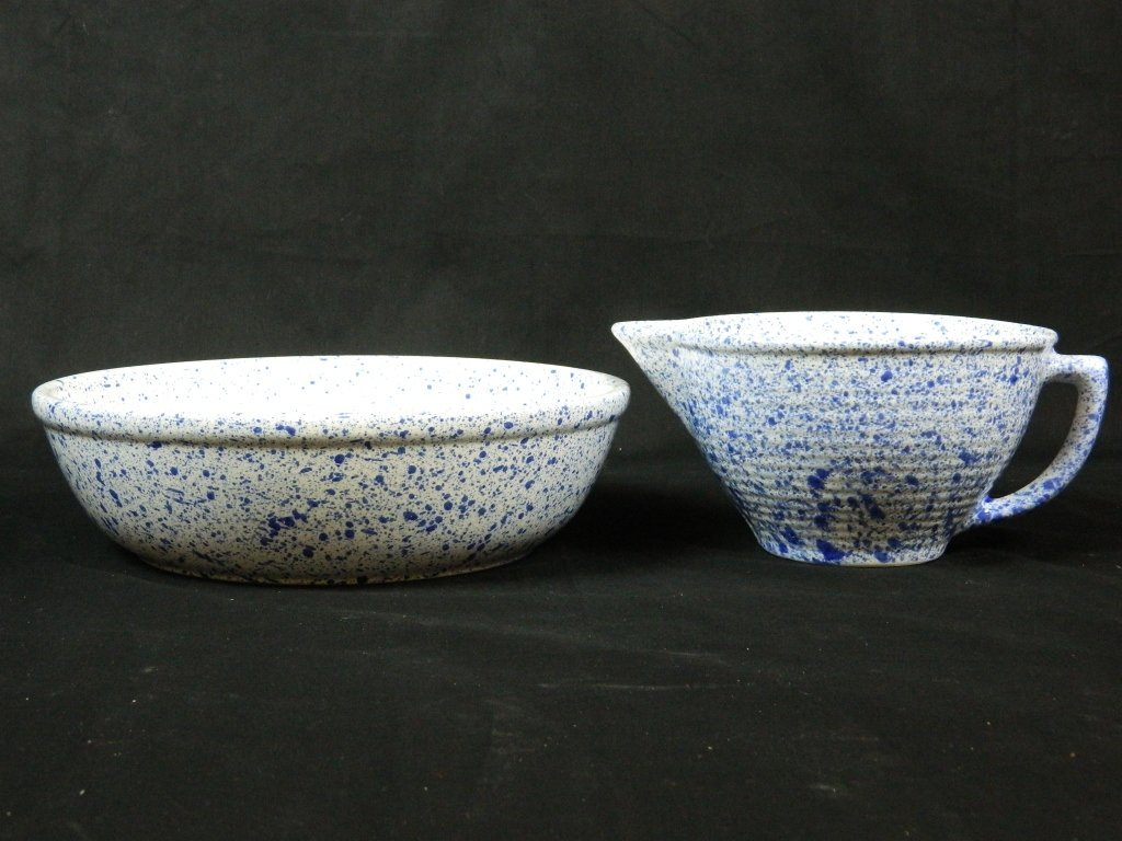 Stoneware Blue Bowl And Pitcher WS Maple Leaf USA