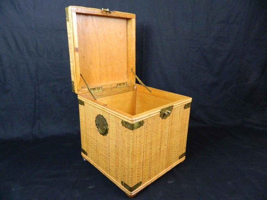 """Wood Wicker Brass16""""Chest Lidded Storage Box"""