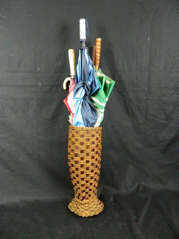 6 Umbrellas And Wicker Basket Umbrella Holder