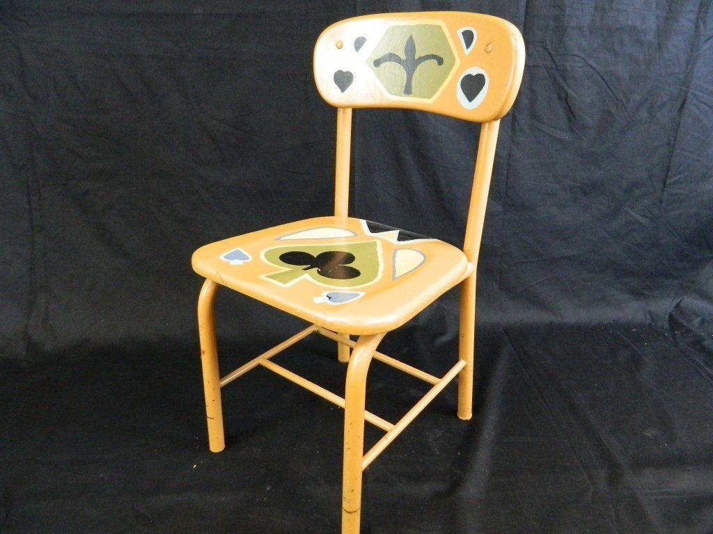 Orange Hand Painted Kids Chair Club Spade Heart