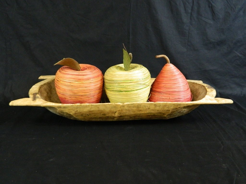 """Antique 38"""" Wood Trencher Dough Bowl & Apples&Pear"""