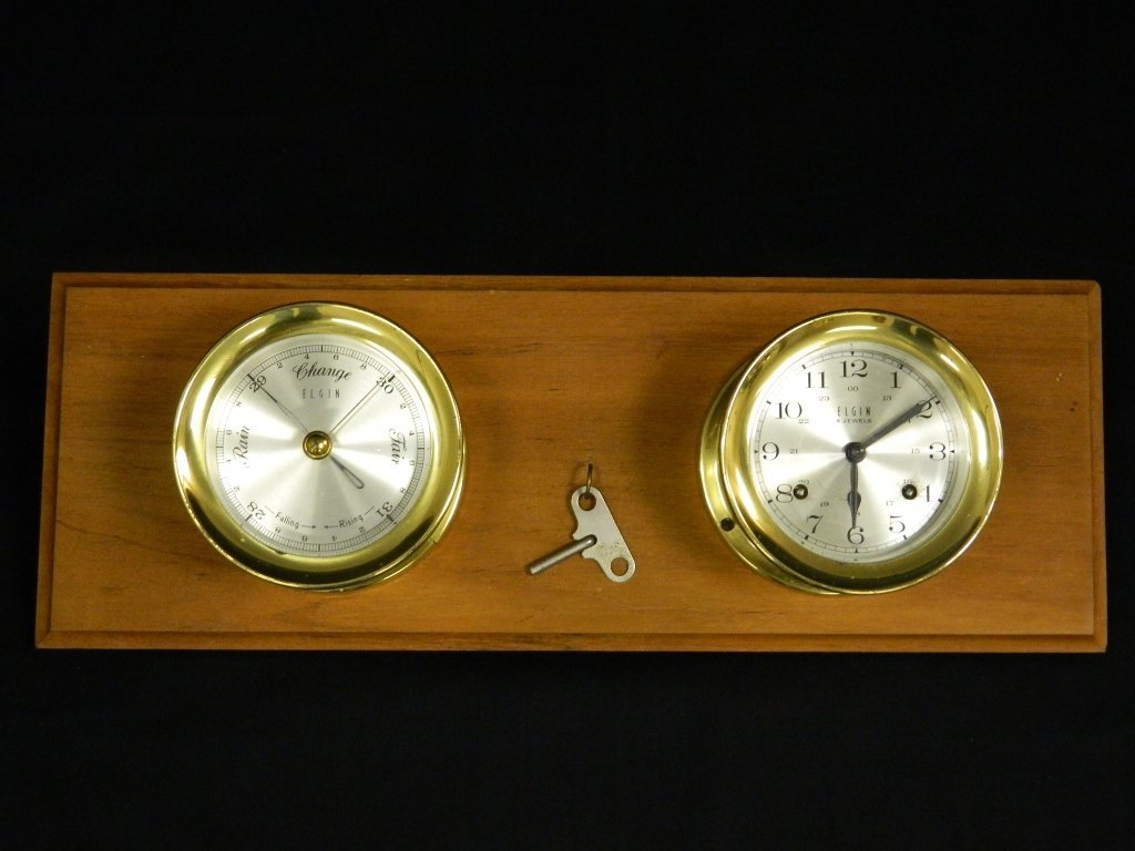 Elgin Brass Ship Barometer And Clock