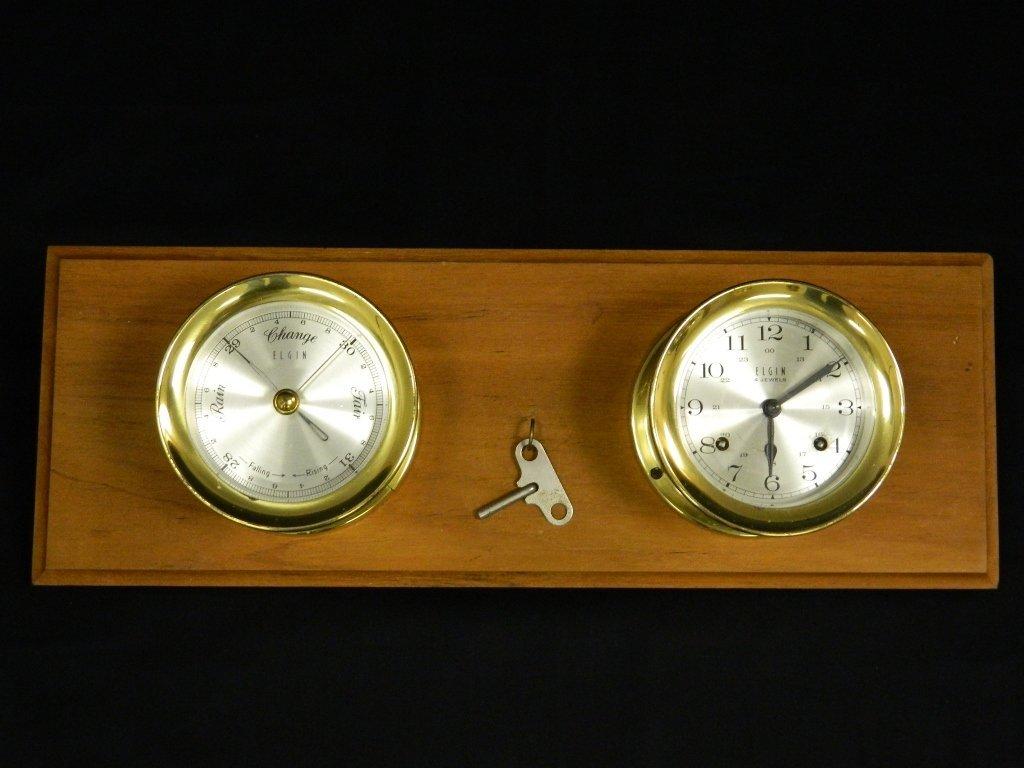 Elgin Brass Ship Barometer And Clock