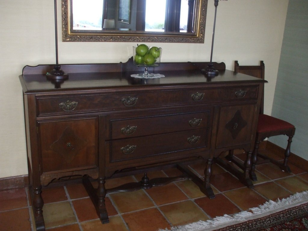 Antique 72 Quot Walnut Wood Buffet Table