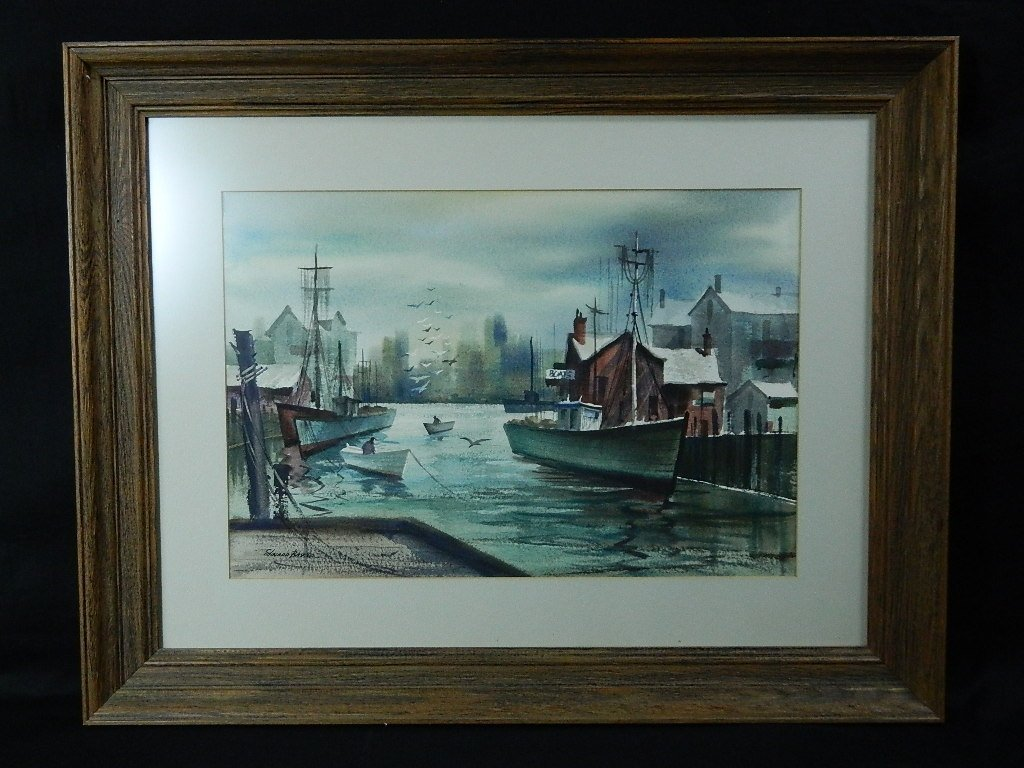 Edward Basker Watercolor Painting- Gloucester Harbor