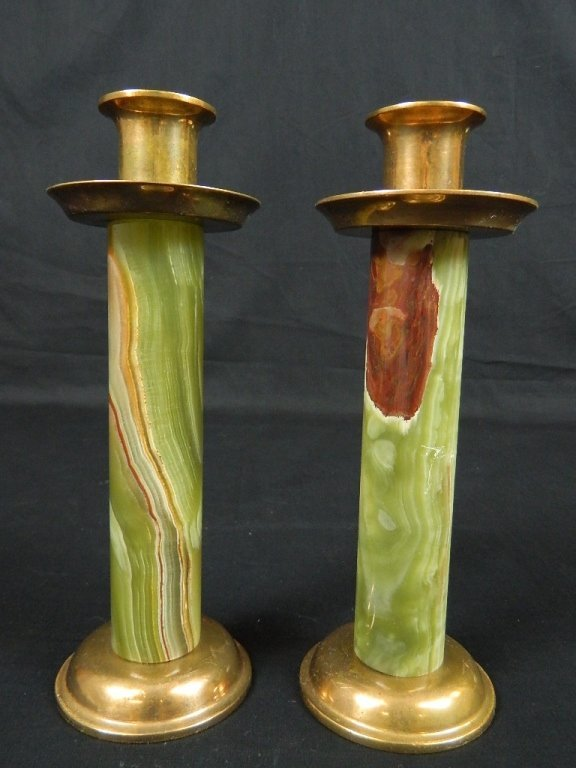 "2 Green Brass & Marble 9.5"" Candle Stick Holders"