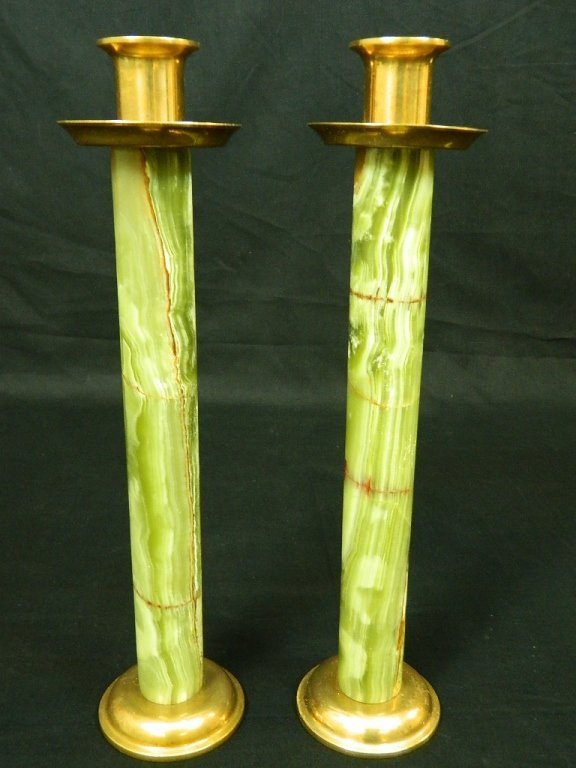 2 Green Marble & Brass Candle Stick Holders 14.5""
