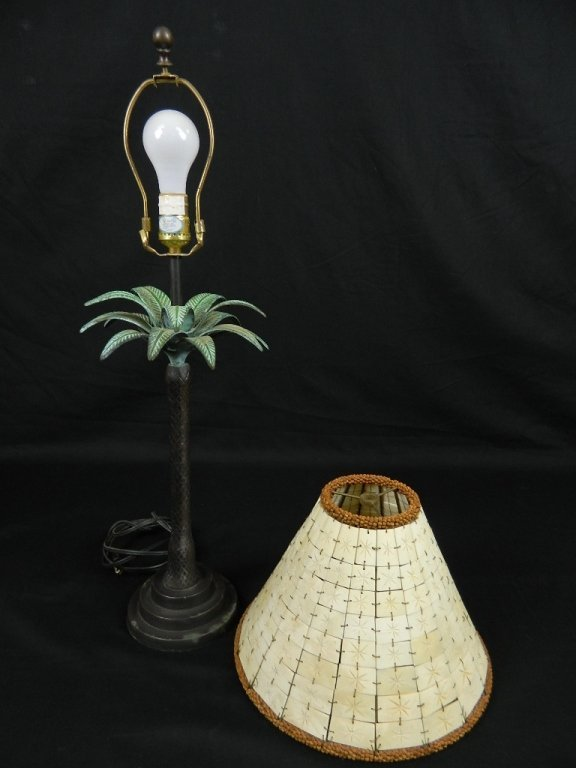Bronze Tropical Tree Lamp With Shell Shade