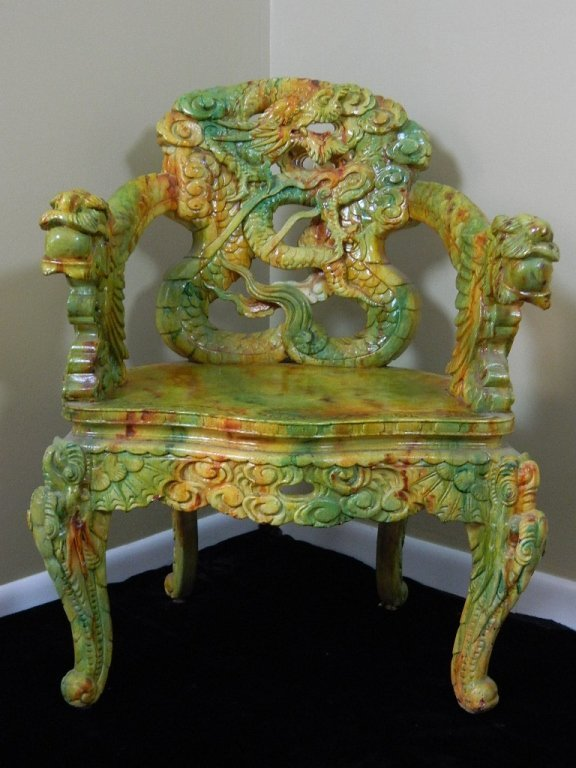 Carved Very Colorful Hardwood Dragon Armchair