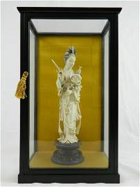 Oriental Woman Ivory Scuplture With Case