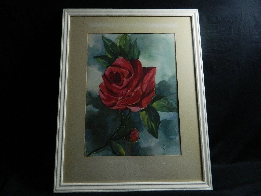 Rose Watercolor Painting  R Bianchi 47 Framed