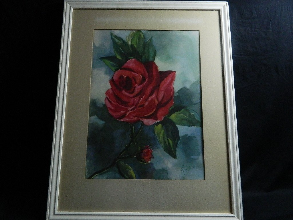 Rose Watercolor Painting  R Bianchi 47 Framed - 2