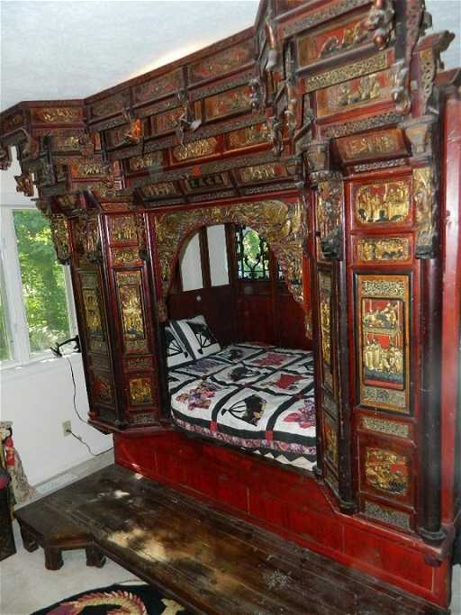 Antique Hand Carved Chinese Wedding Bed