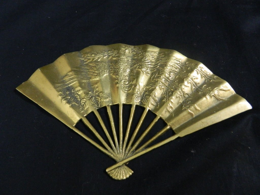 Vintage Asian Solid Brass Hand Fan Wall Decoration