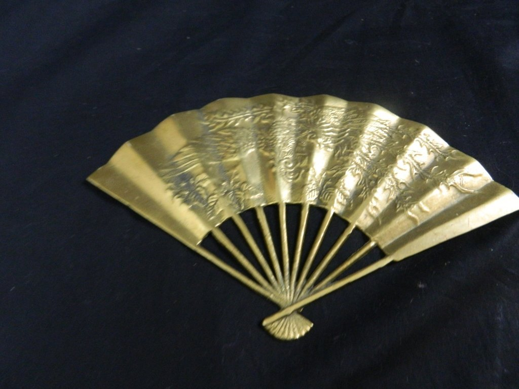 Vintage Asian Solid Brass Hand Fan Wall Decoration - 2