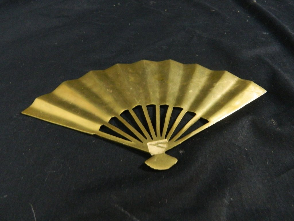 Vintage Asian Solid Brass Hand Fan Wall Decoration - 3