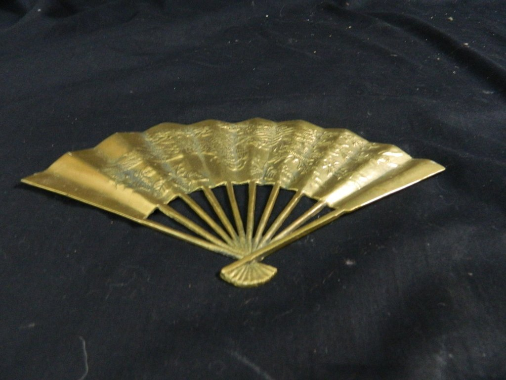Vintage Asian Solid Brass Hand Fan Wall Decoration - 4