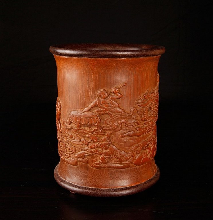 Chinese Bamboo Brush Pot Lanscape Views & Figures