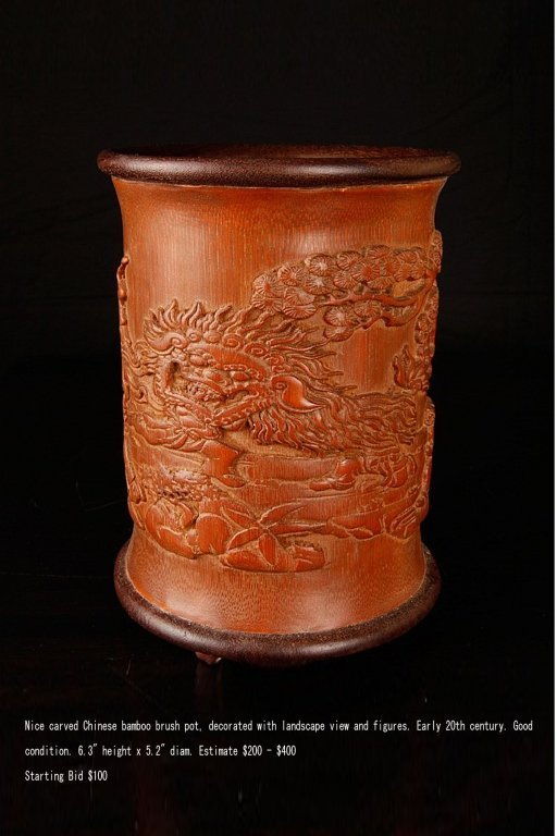 Chinese Bamboo Brush Pot Lanscape Views & Figures - 2