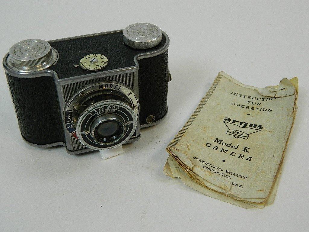 "Argus Model ""K"" Camera w/ Operators Manual"