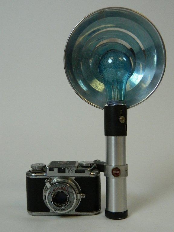 Bolsey Camera Model B-2 with Flash Gun