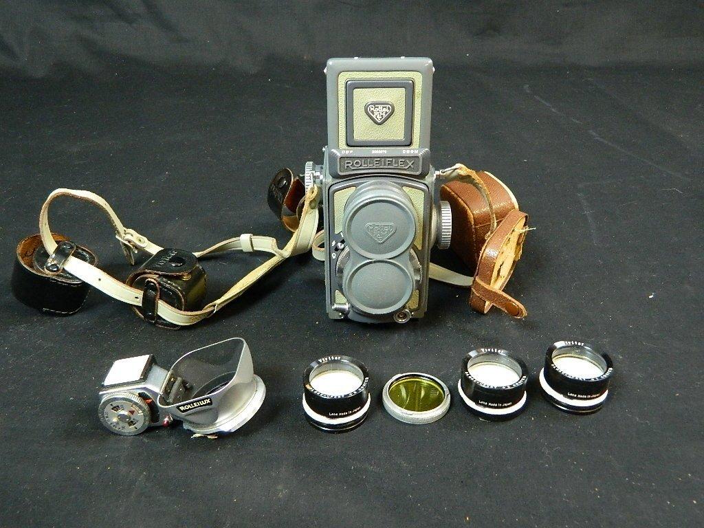 Rolleiflex 4x4 Gray Baby Camera w/ Case+ lenses Grey - 7