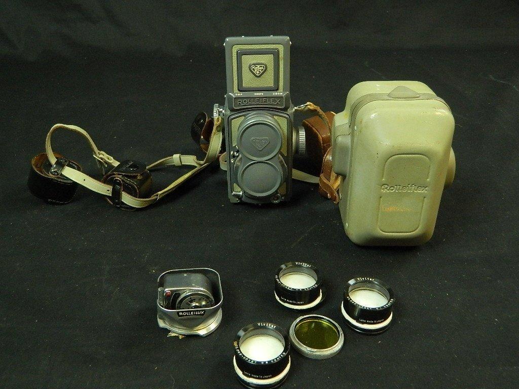 Rolleiflex 4x4 Gray Baby Camera w/ Case+ lenses Grey - 9