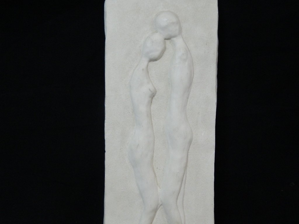 "14"" Male & Female Plaster Art Wall Hanging - 2"