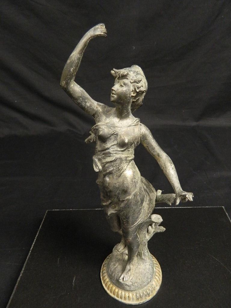 "14"" Woman In the Wind Art Nouveau c1910 Statue"
