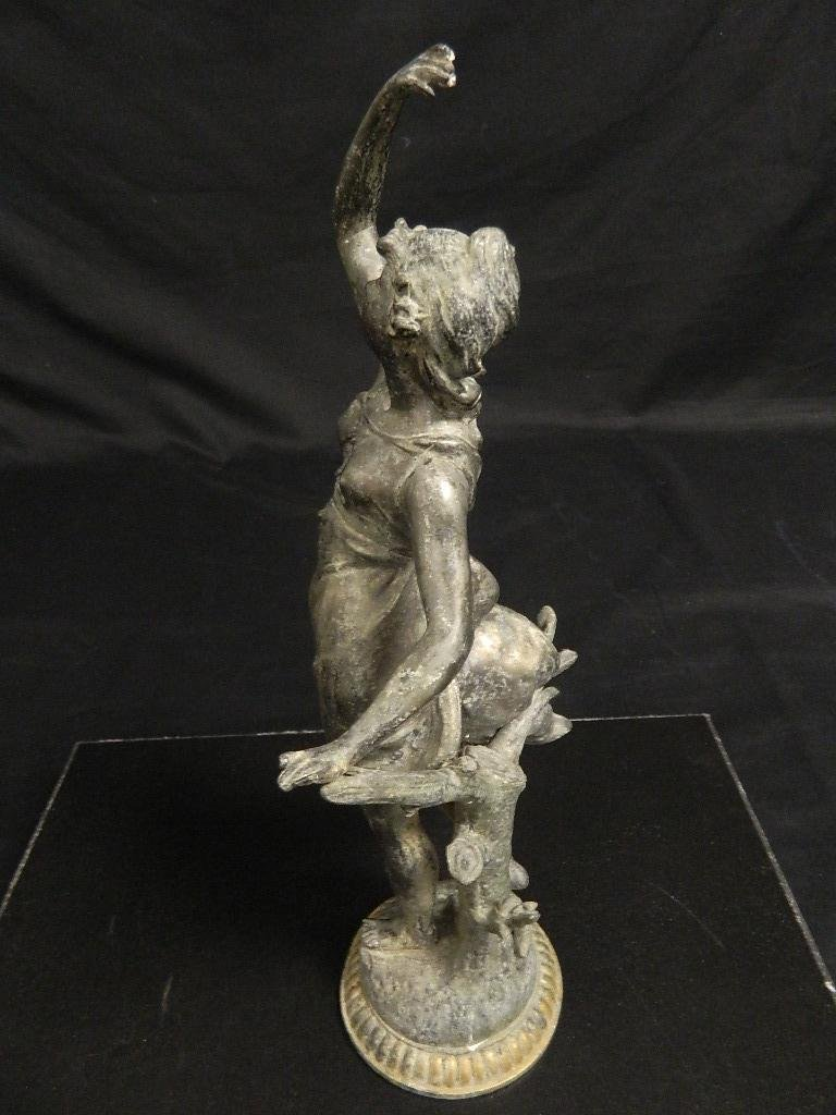 "14"" Woman In the Wind Art Nouveau c1910 Statue - 2"