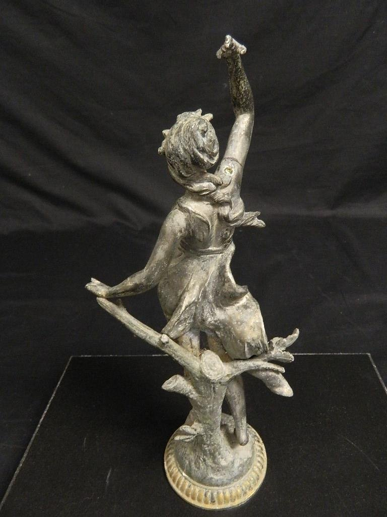 "14"" Woman In the Wind Art Nouveau c1910 Statue - 3"