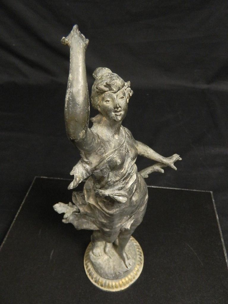 "14"" Woman In the Wind Art Nouveau c1910 Statue - 5"