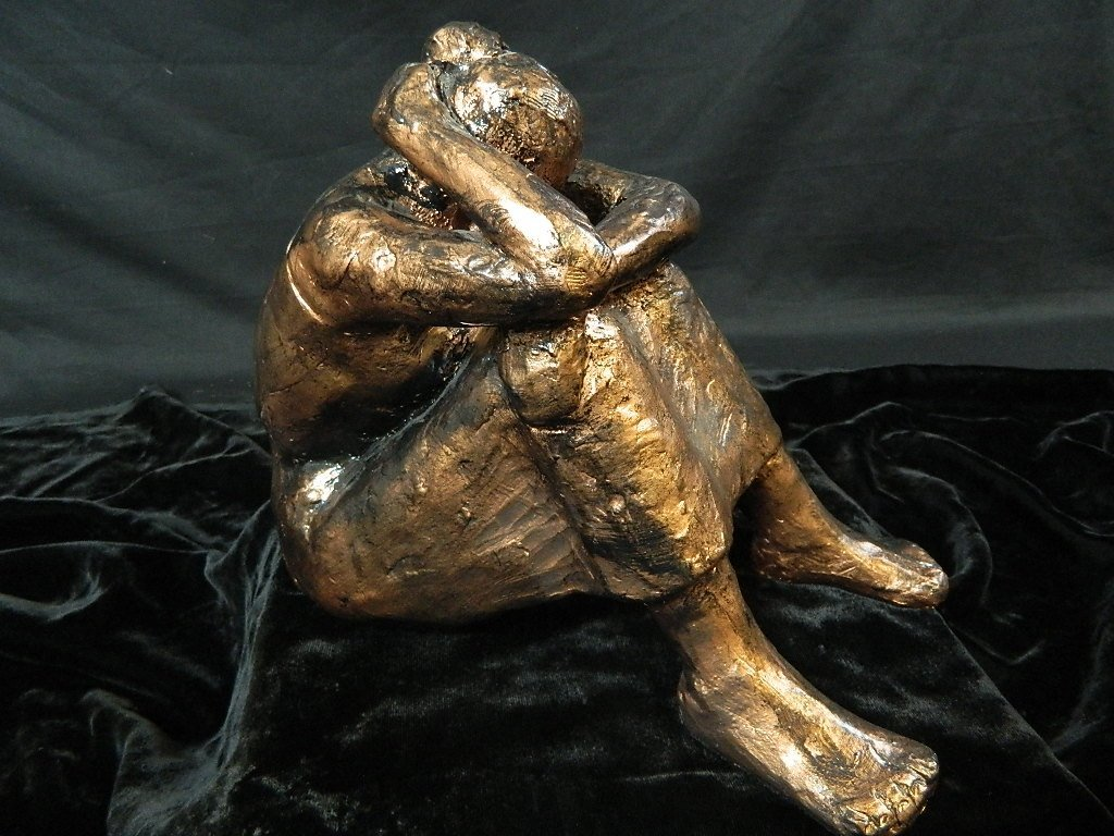 Contemplating Woman Plaster Scuplture - 2