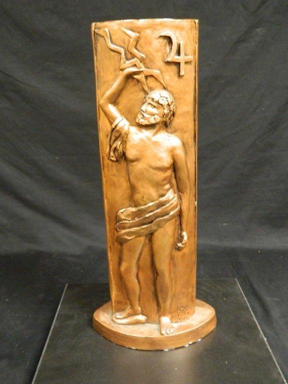 Greek God & Sun Plaster Statue by Lauren Grey