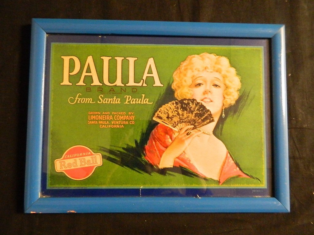 Vintage  style Paula Brand fruit crate Label