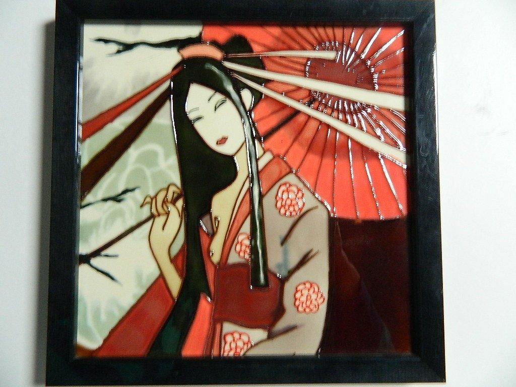 Art Plaque - Sun Bathing Asian Woman With Umbrella